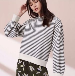 Lou & Grey Puffer Sleeve Striped Hooded Sweater